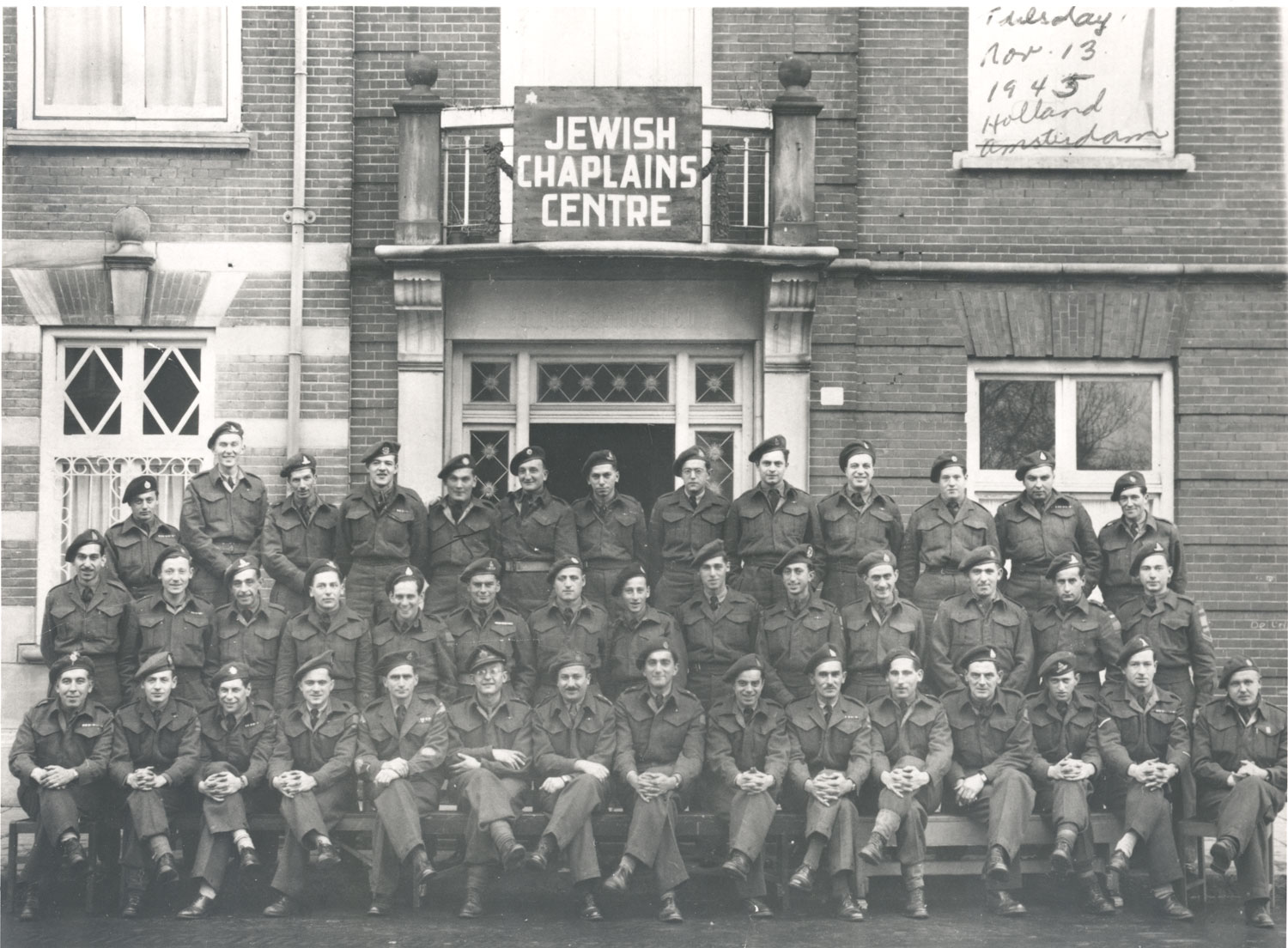 Troops outside the Jewish Chaplains Centre in Amsterdam